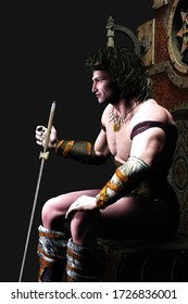 3D illustration of muscular barbarian king on throne with sword resting on palm