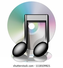 3D illustration. Music CD with musical note isolated on white background with reflection