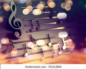 3d иллюстрация музыкальных нот и музыкальных знаков абстрактного музыкального листа.Песни и концепция мелодии