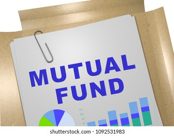 3D illustration of MUTUAL FUND title on business document