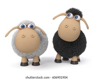 3d illustration mutual relation between two sheep/3d illustration ridiculous sheep