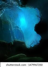 3D illustration of a mysterious underworld castle