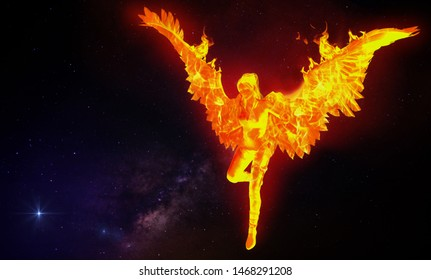 A 3D illustration of a mythological bird known as phoenix, a human girl with wings on fire flying in space background.