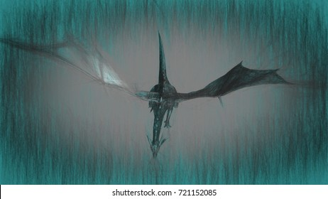 3d illustration of mythology creature, dragon