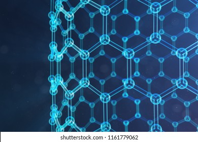 3D Illustration nanotechnology, glowing hexagonal geometric form close-up, concept graphene atomic structure, concept graphene molecular structure. Science illustration