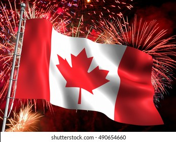 3D Illustration of the national flag of Canada with big red fireworks display in background