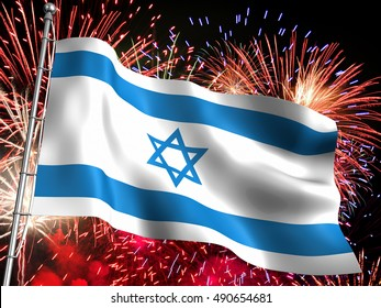 3D Illustration of the national flag of Israel with massive fireworks display in the background