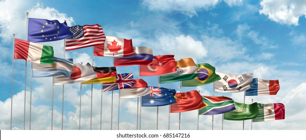 3D Illustration with the national flags of the countries member states of The G-20 (The Group of Twenty) waving against blue sky