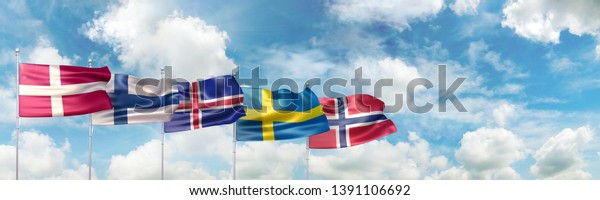 3D Illustration with the national flags of Denmark, Finland, Iceland, Sweden and Norway waving against blue sky
