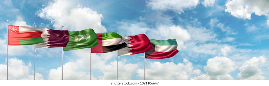 3D Illustration of national flags of the six countries which are member states of the Cooperation Council for the Arab States of the Gulf also known as the Gulf Cooperation Council (GCC)