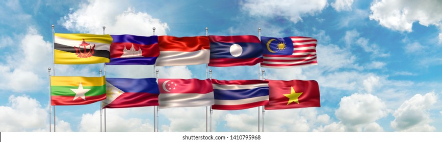 3D Illustration of national flags of the ten countries which are full member states of the Association of Southeast Asian Nations (or ASEAN) regional intergovernmental organization