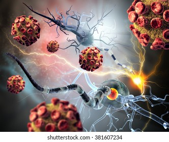 3d illustration of nerve cells.  Viruses attacking nerve cells, concept for Neurologic Diseases, tumors and brain surgery.