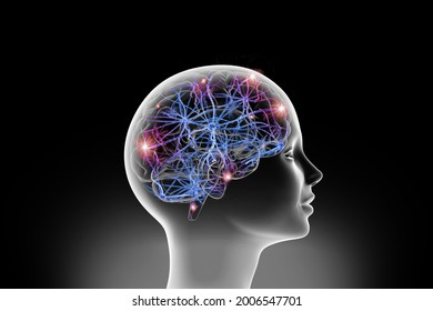 3D illustration of Neuralink synaps neural network linking computer - human communication. Neuralink neural network is linking computer - human communication in a new dimension.