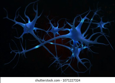 3D illustration neurons cell brain on science background.