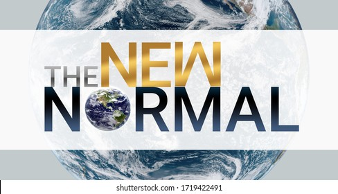 """3d illustration. New normal concept. Logo graphic design """"new normal"""" text for ad, banner, graphic elements. coronavirus motivation After the epidemic the COVID-19 virus caused the new normal worldwid"""
