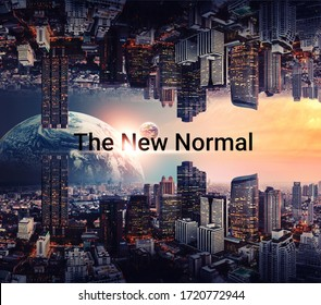 """3d illustration. New normal concept. graphic design  """"new normal"""" text on skyline city graphic elements. coronavirus motivation After the epidemic the COVID-19 virus caused the new normal worldwide"""