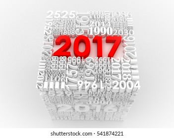 3D illustration New year 2017. Cube of many year numbers