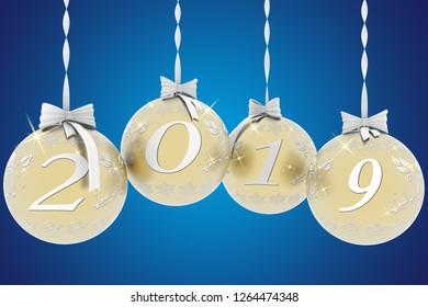 3D illustration. New Year 2019 Christmas decoration