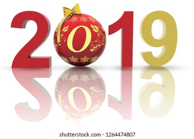 3D illustration. New Year 2019. In the Christmas decoration, the number nine replaces the eight.