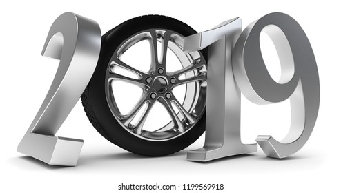 3D illustration of new year car tires