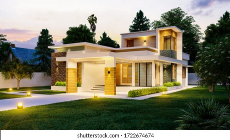 3d illustration of a newly built luxury home.