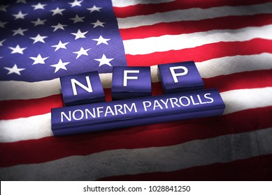 3d Illustration of NFP (Nonfarm Payrolls) blocks on American flag.