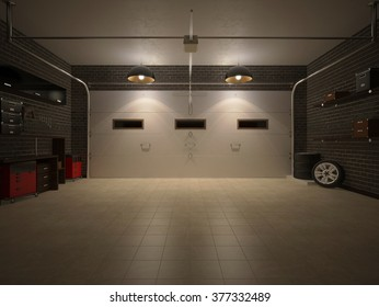 3D illustration of night garage interior