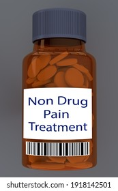 3D illustration of Non Ddrug Pain Treatment title on pill bottle, isolated on gray background.