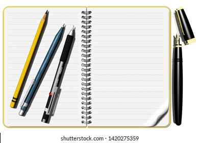 3D illustration. Notepad with pens and space for text