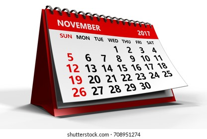 3d illustration of november 2017 calendar over white background with shadow