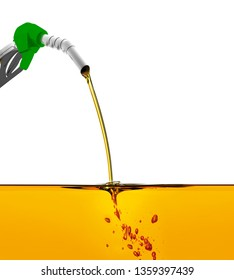 3D illustration, nozzle pumping gasoline in a tank, of fuel nozzle pouring gasoline over white background, nozzle pumping a gasoline fuel liquid in a tank of oil industry.