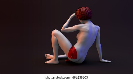 3D illustration of nude beautiful woman. Naked woman with perfect body sitting on the floor.