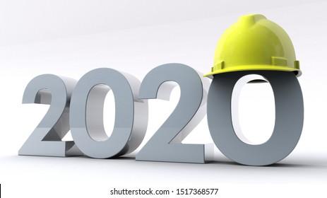 3D illustration of number 2020 wearing a hard helmet