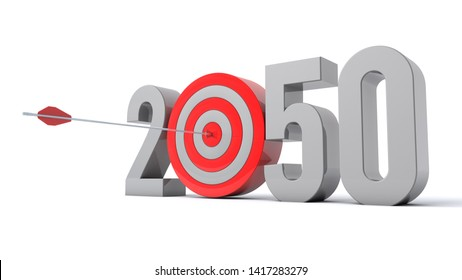 3D illustration of number 2050 with target concept