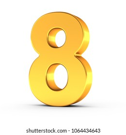 3D illustration of the number eight as a polished golden object over white background with clipping path for quick and accurate isolation.