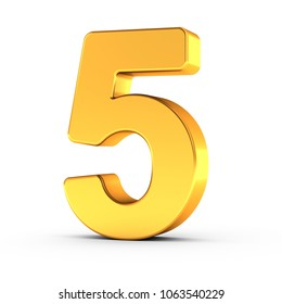 3D illustration of the number five as a polished golden object over white background with clipping path for quick and accurate isolation.