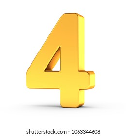 3D illustration of the number four as a polished golden object over white background with clipping path for quick and accurate isolation.