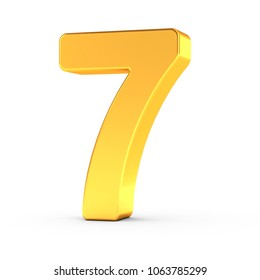 3D illustration of the number seven as a polished golden object over white background with clipping path for quick and accurate isolation.