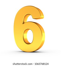 3D illustration of the number six as a polished golden object over white background with clipping path for quick and accurate isolation.
