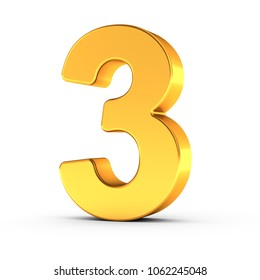 3D illustration of the number three as a polished golden object over white background with clipping path for quick and accurate isolation.