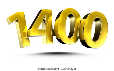 3D illustration Numbers 1400 Gold isolated on a white background.(with Clipping Path)