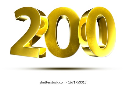 3D illustration Numbers 200 Gold isolated on a white background.(with Clipping Path)