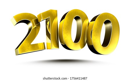 3D illustration Numbers 2100 Gold isolated on a white background.(with Clipping Path)