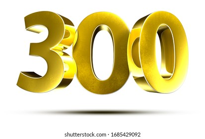 3D illustration Numbers 300 Gold isolated on a white background.(with Clipping Path)