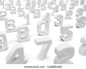 3D Illustration - 3D numbers on white background - focus on number one