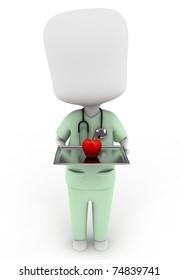 3D Illustration of a Nurse Carrying an Apple as Prescription