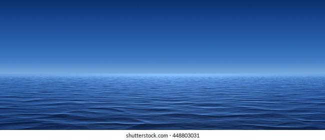 3d illustration ocean blue sky