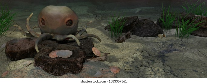 A 3d illustration of an octopus sitting on rocks underwater with shells around.