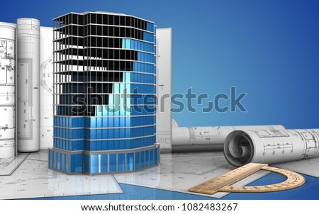 3 D Illustration Office Building Construction Drawings Stock