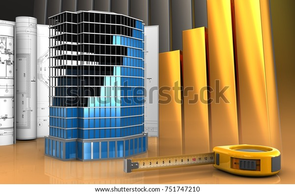3d Illustration Office Building Construction Drawings Stock